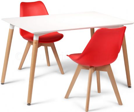 Toulouse Tulip Eiffel Designer Dining Set White Rectangular Table & 2 Red Chairs Sale Now On Your Price Furniture